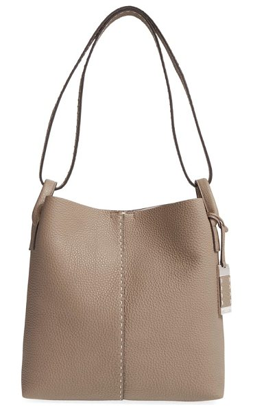 Michael Kors Medium rogers leather hobo in dark taupe - Hand-stitched details and logo-etched hardware refine a...