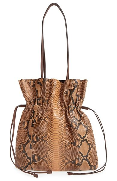 Michael Kors Medium salina genuine python drawstring bag in luggage - Ultra-luxe yet laid-back, this Italian drawstring bag...