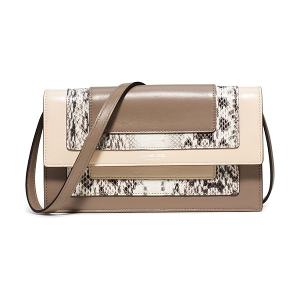 MICHAEL KORS Medium surrey calfskin leather convertible clutch - Distinctive color blocking and snake embossing add to...