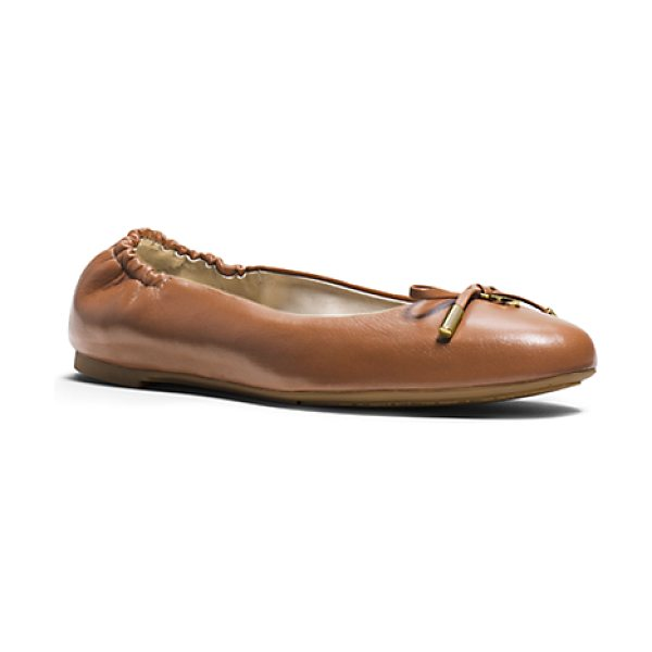 Michael Kors Melody Leather Ballet Flat in brown - So French And So Chic. With Its Flexible Sole And Sweet...