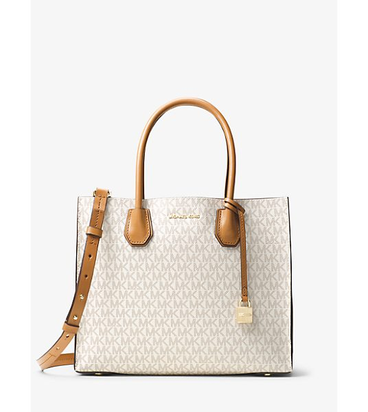 MICHAEL KORS Mercer Large Logo Tote in natural - Crafted From Coated Twill And Printed With Our Signature...