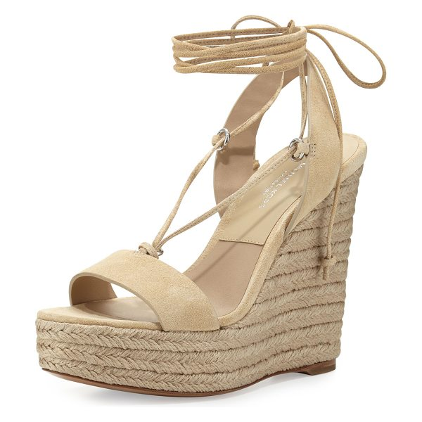 """Michael Kors Collection Clive Suede Lace-Up Wedge Espadrille Sandal in ecru - Michael Kors sport suede sandal. 5"""" braided-jute wedge..."""