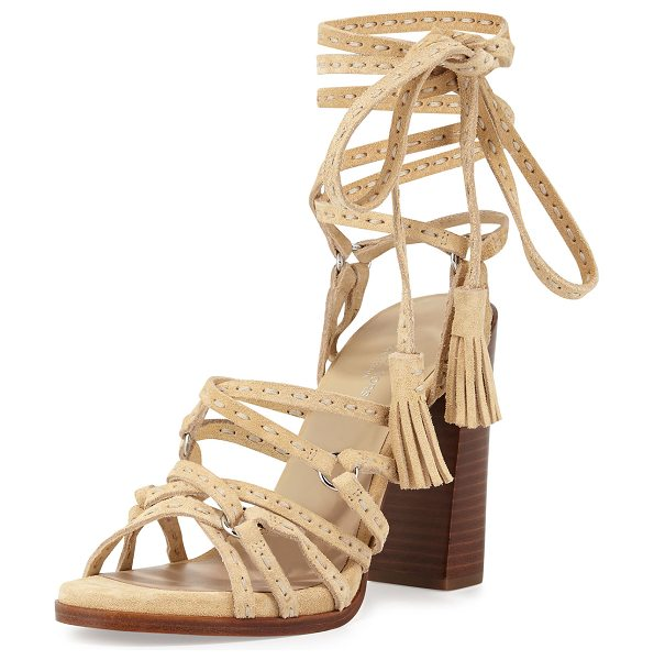 "Michael Kors Collection Rowan Suede Lace-Up Sandal in ecru - Michael Kors sport suede sandal. 4.3"" stacked block..."