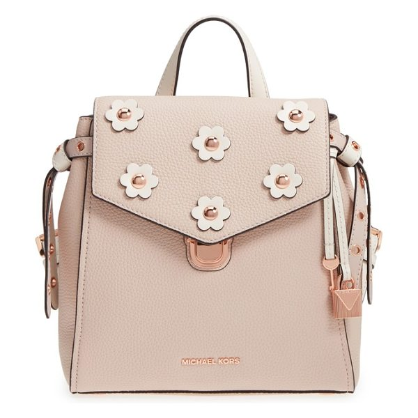 Michael Kors michael  small flower embellished leather backpack in soft pink/ light cream - Contrast flower appliques centered by polished dome...