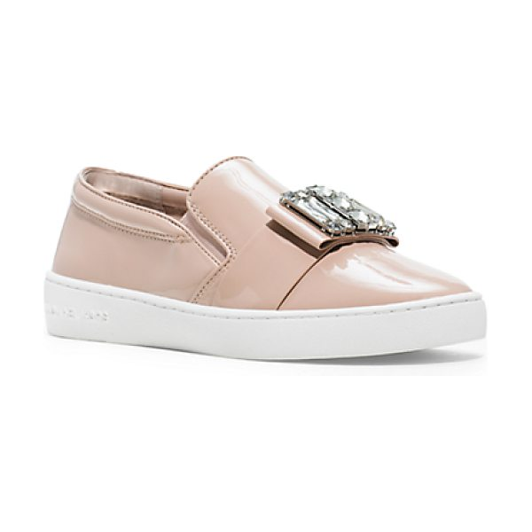 MICHAEL KORS Michelle patent-leather sneaker in pink - A bejeweled go-to. Featuring a smart bow that's...