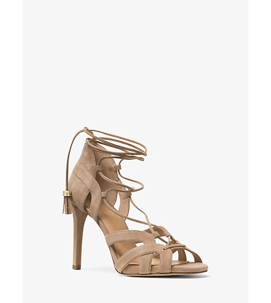 Michael Kors Mirabel Suede Sandal in natural - Geometric Cutouts Lend Allure To Our Mirabel Sandals...