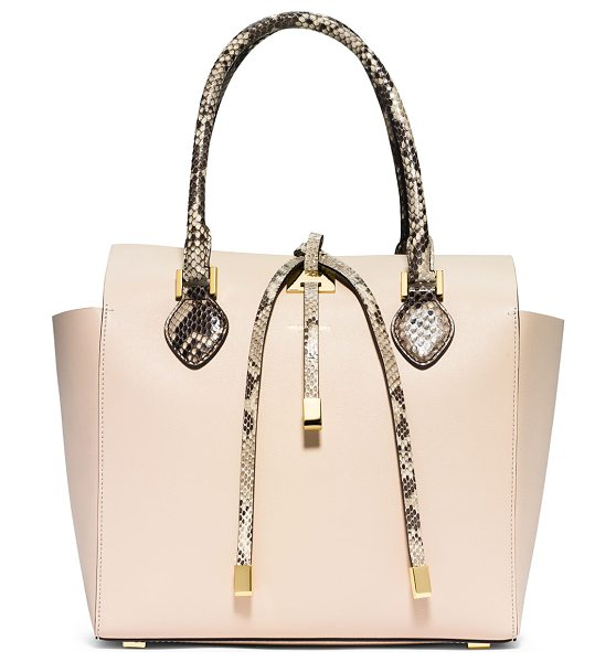 Michael Kors Michael kors miranda medium python-trim tote bag in vanilla -  Michael Kors smooth leather tote with python trim....