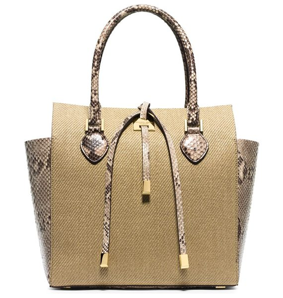 Michael Kors Miranda medium python-trimmed woven tote in khaki