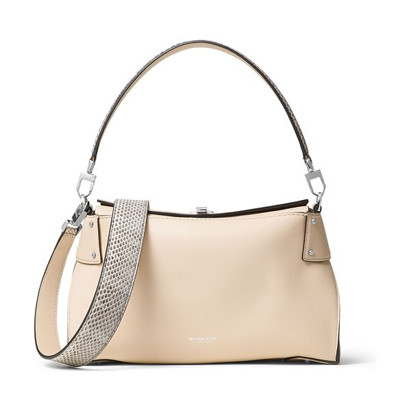 Michael Kors Miranda Medium Top-Lock Shoulder Bag in vanilla