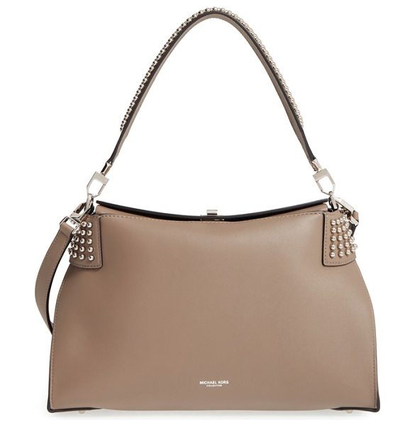 MICHAEL KORS 'miranda' studded leather shoulder bag in dk taupe - Crafted from rich calfskin leather, this sleek,...