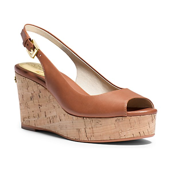 Michael Kors Natalia Leather Peep-Toe Wedge in brown - Crafted In Smooth Vachetta Leather With An Elegant...