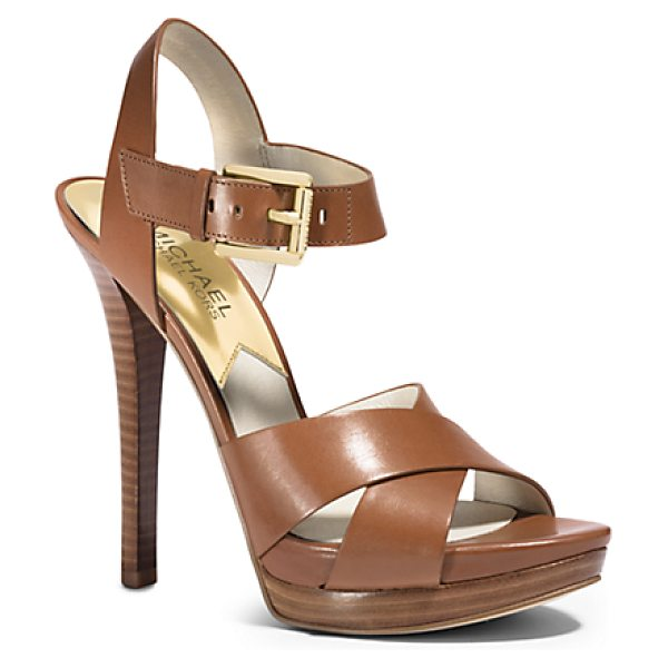 Michael Kors Oksana Leather Sandal in brown - Take Your Shoes To New Heights. With A Slight Platform...