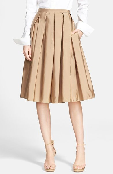 Michael Kors full pleated skirt in fawn - Deep box pleats add swingy dimension to the full A-line...