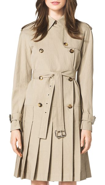 Michael Kors Pleated trenchcoat dress in sand - Michael Kors sand tech trechcoat dress. Spread collar;...