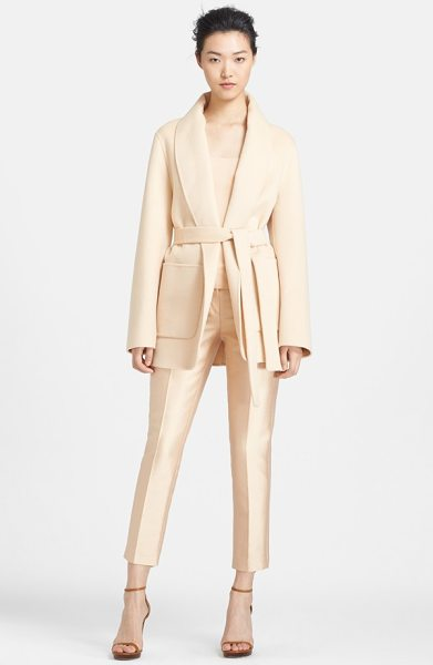 Michael Kors plush melton wool jacket in nude - A sophisticated shawl collar frames a neutrally hued...
