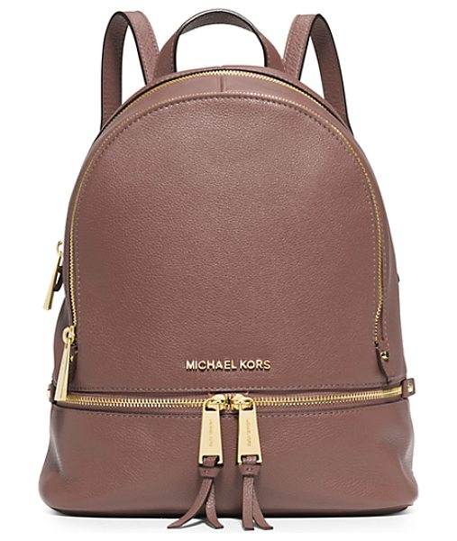 MICHAEL KORS Rhea Small Leather Backpack in pink - Laid-Back Yet Luxe Our Rhea Backpack Redefines Big-City...