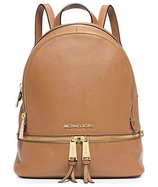 Michael Kors Rhea Small Leather Backpack in brown - Laid-Back Yet Luxe Our Rhea Backpack Redefines Big-City...