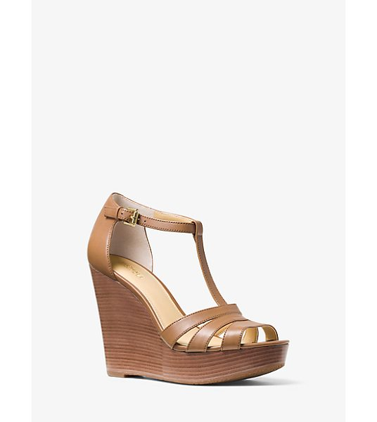 Michael Kors Sable Leather Wedge in brown - In Rich Italian Leather Our Sable Wedge Sandals Are A...