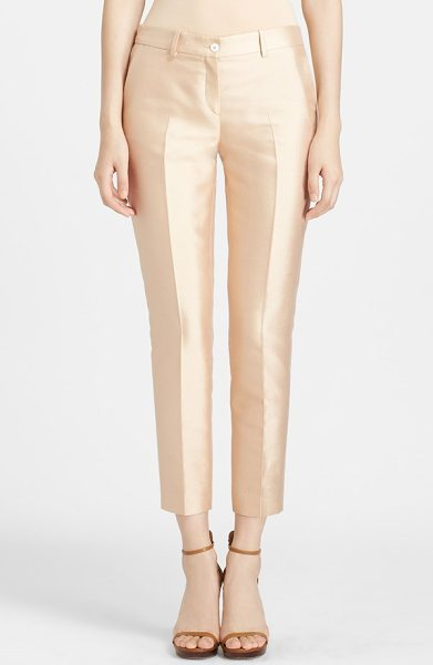 Michael Kors samantha skinny silk & wool pants in nude - A lustrous silken sheen adds a glamorous touch to...