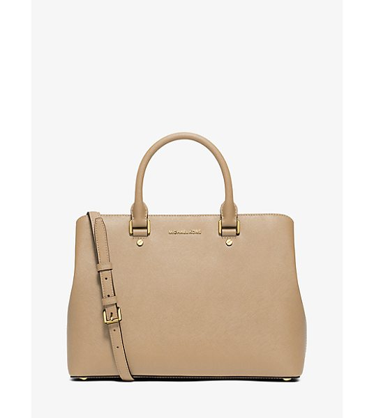 MICHAEL KORS Savannah Large Saffiano Leather Satchel in natural - Combining Expert Craftsmanship With Sleek Functionality...
