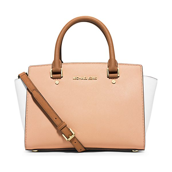 Michael Kors Selma Medium Color-Block Leather Satchel in natural - This Season Our Selma Satchel Gets Color-Block Cool. We...