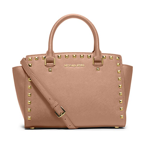 Michael Kors Selma Medium Studded Saffiano Leather Satchel in pink - Our Selma Satchel Makes A Case For Elegant...