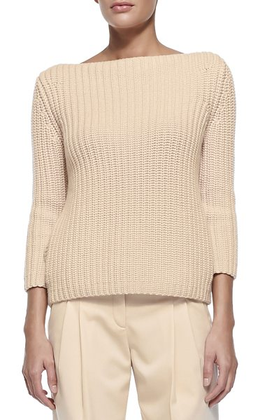 Michael Kors Shaker-knit cashmere boat-neck sweater in nude - Michael Kors sweater in shaker-knit cashmere. Approx....