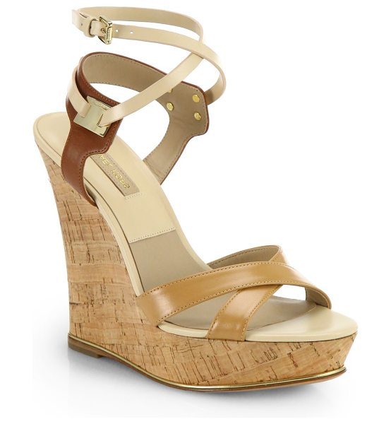 Michael Kors Shana strappy leather cork wedge sandals in beige - Towering cork wedges rendered in supple leather with...