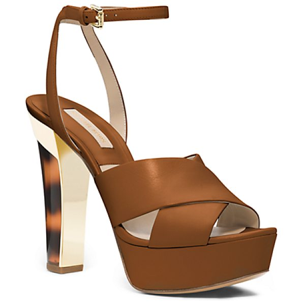 Michael Kors Shayden Tortoise Ankle-Strap Platform Sandal in brown - Spring's Sensibility Is An Ode To Romantic Ease...