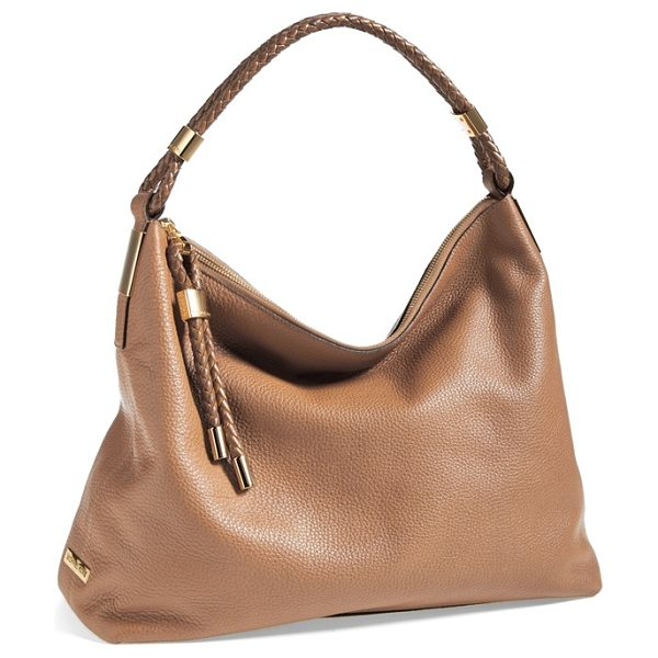 MICHAEL KORS Skorpios leather hobo in luggage - A tightly plaited shoulder strap tops a softly slouchy,...