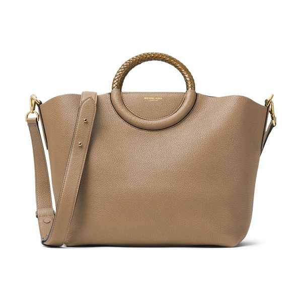Michael Kors Skorpios Leather Market Bag in dune - Michael Kors pebbled leather tote bag. Golden hardware....