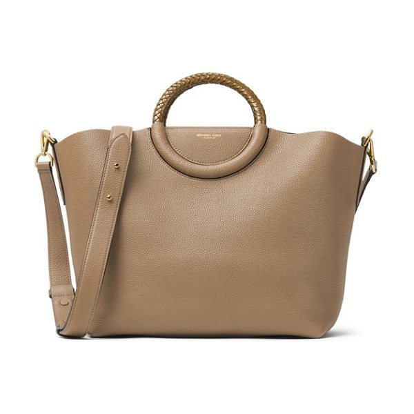 Michael Kors skorpios leather market bag in dune - Tightly plaited ring handles top a structured market bag...