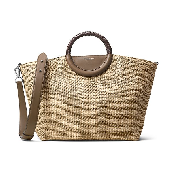 Michael Kors Skorpios Woven Market Tote Bag in beige - Michael Kors woven market tote bag with leather trim....