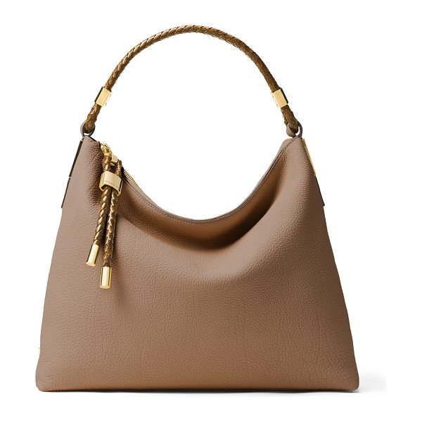 MICHAEL KORS Skorpios Woven-Trim Hobo Bag in desert - Michael Kors grained French calfskin shoulder bag....
