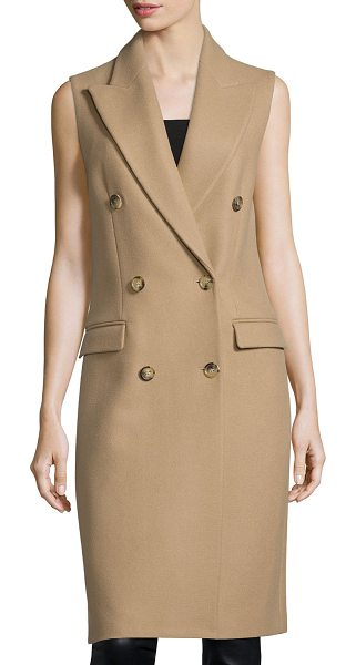 Michael Kors Sleeveless Double-Breasted Coat in fawn - Michael Kors wool coat. Peaked lapels; double-breasted...