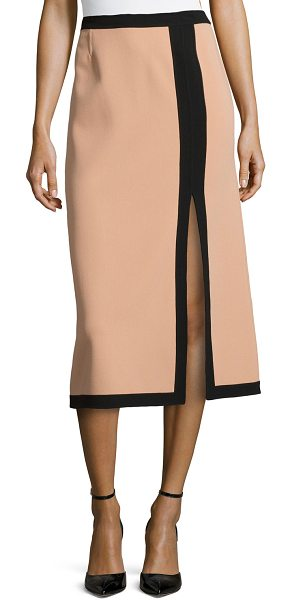 Michael Kors Slit-front two-tone midi skirt in suntan - Michael Kors suntan skirt with black trim. Natural...