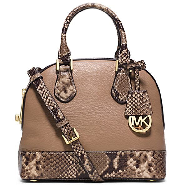 Michael Kors Smythe Small Embossed-Leather Satchel in natural - The Ultimate Showstopper: Our New Smythe Satchel....
