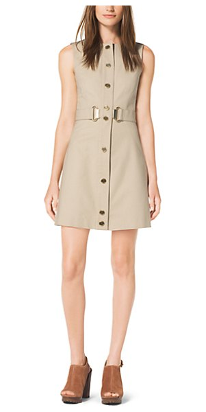MICHAEL KORS Snap-Front Stretch-Cotton Dress - Our Signature High-Shine Hardware Instills This Dress...