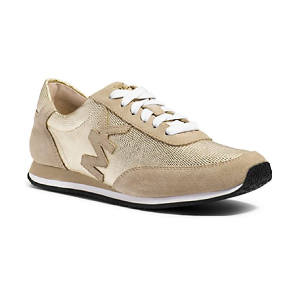 Michael Kors Stanton Leather And Suede Sneaker in gold - Nothing Speaks Of Unexpected Flair Like Polishing Off A...