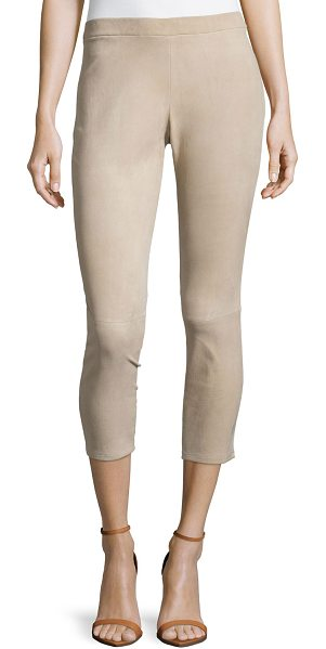 Michael Kors Stretch suede leggings in sand - Michael Kors leggings in blocked suede. Easy, pull-on...