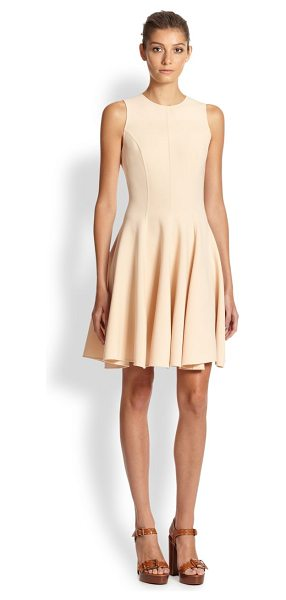 Michael Kors Stretch wool flared dress in nude - Precise tailoring shapes this feminine, flared...