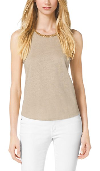 Michael Kors Studded Linen-Blend Top in natural - Gilded Studding At The Neckline Embellishes This Easy...