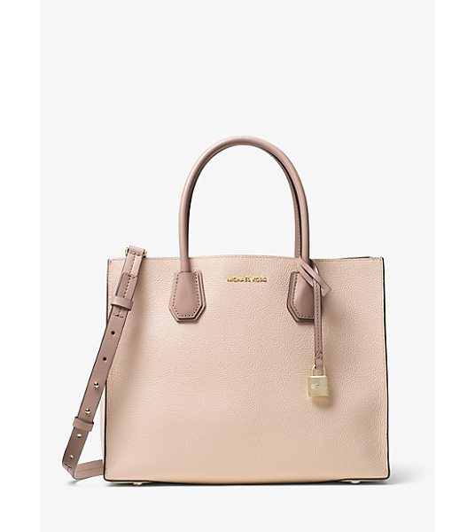 MICHAEL Michael Kors Mercer Large Color-Block Leather Tote in natural - Crafted From Pebbled Leather Our Color-Blocked Mercer...