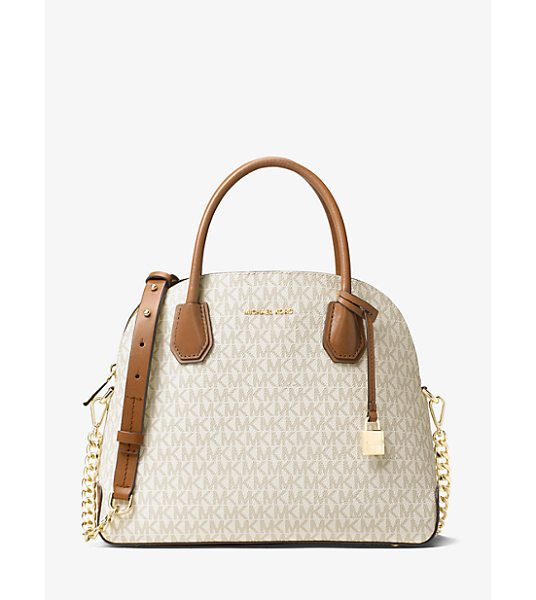 Michael Kors Studio Mercer Large Logo Dome Satchel in natural - Reimagined In A Dome-Structured Satchel The Mercer Is A...