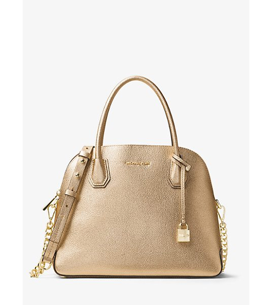 MICHAEL Michael Kors Mercer Large Metallic Leather Dome Satchel in gold - Reimagined In A Dome-Structured Satchel The Mercer Is A...