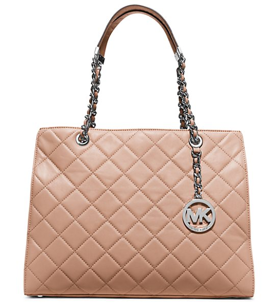 Michael Kors Susannah Large Quilted-Leather Tote in pink - Unapologetically Ladylike Our Quilted Susannah Tote...