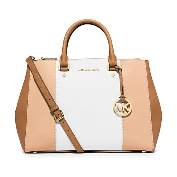 MICHAEL KORS Sutton large color-block leather satchel handbag - Our striped Sutton satchel blends high style with...
