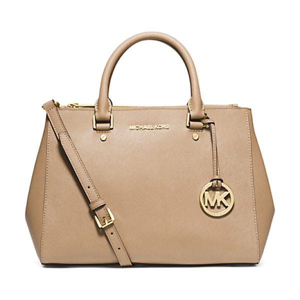 Michael Kors Sutton Medium Saffiano Leather Satchel in natural - The Shape Of Things To Come: Our Newest Tote The...