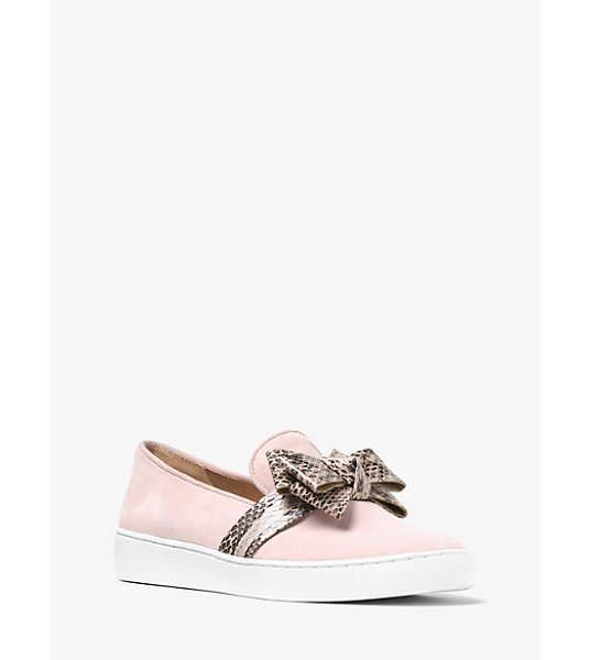 Michael Kors Collection Val Suede And Snakeskin Slip-On Sneaker in pink - Designed In Suede With A Snakeskin Bow Michael Dresses...