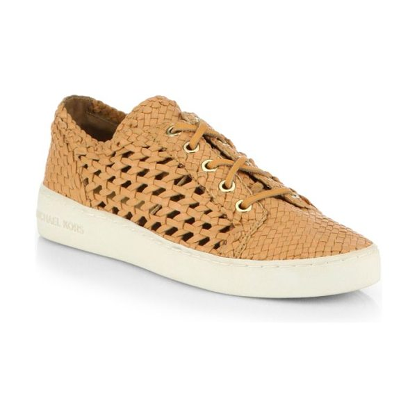 Michael Kors Collection violet woven leather lace-up sneakers in peanut